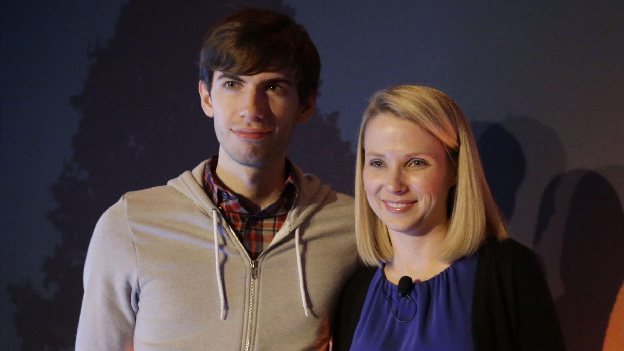 Yahoo CEO Marissa Mayer, and Tumblr Chief Executive David Karp speak during a news conference Monday, May 20, 2013, in New York. Yahoo edged up 31 cents, or 1.2 percent, to $26.83 after the Internet company said it was buying online blogging forum Tumblr for $1.1 billion. (AP Photo/Frank Franklin II)