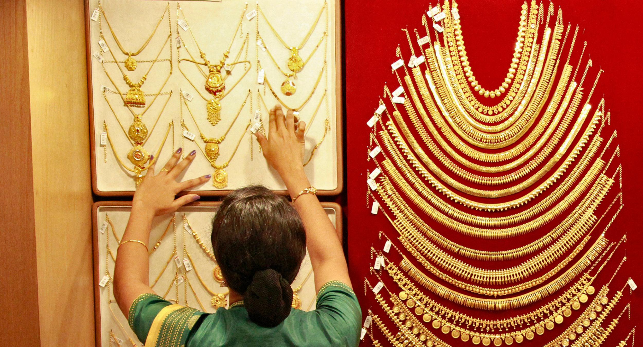 Woman at Indian gold shop