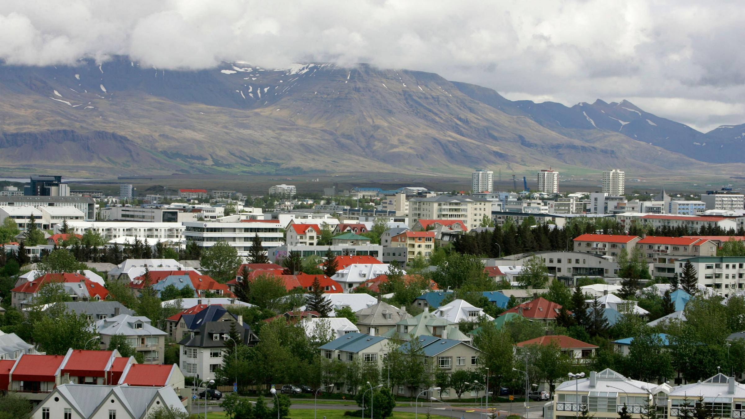 View across Reykjavík in Iceland from Öskjuhlíd Hill.