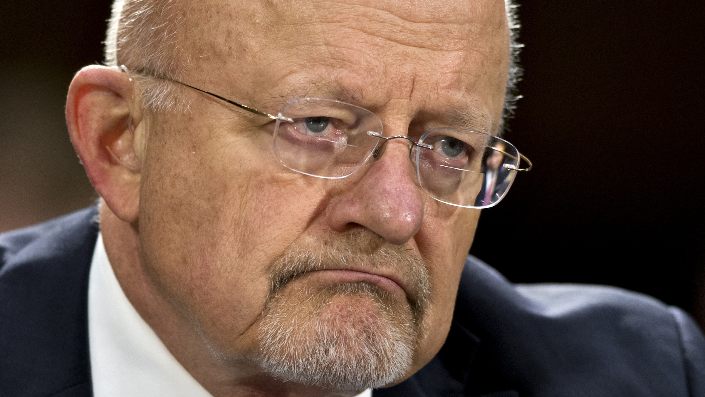 National Intelligence Director James Clapper testifies on Capitol Hill in Washington, Thursday, April 18, 2013, before the Senate Armed Services Committee hearing on the current and future threats to national security.   (AP Photo/J. Scott Applewhite)
