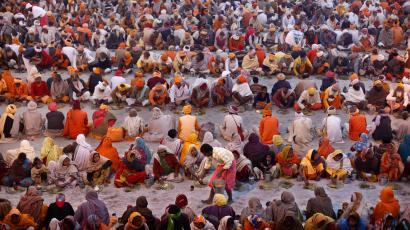 Food being distributed during the Maha Kumbh festival.