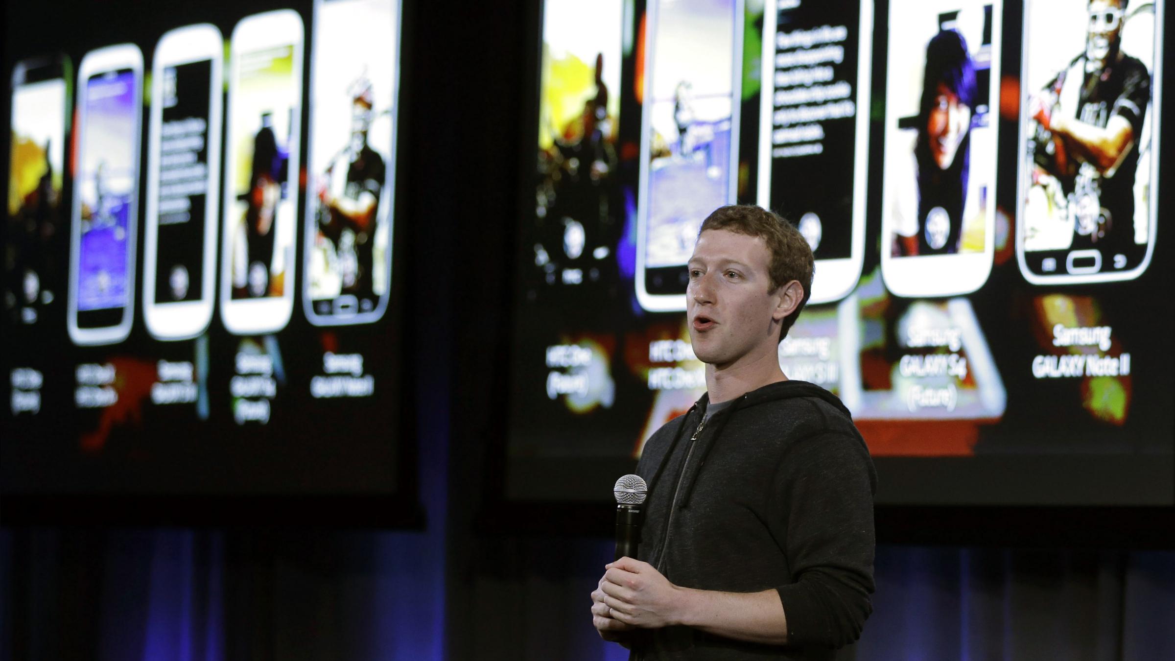 Facebook CEO Mark Zuckerberg speaks at the company's headquarters in Menlo Park, Calif.