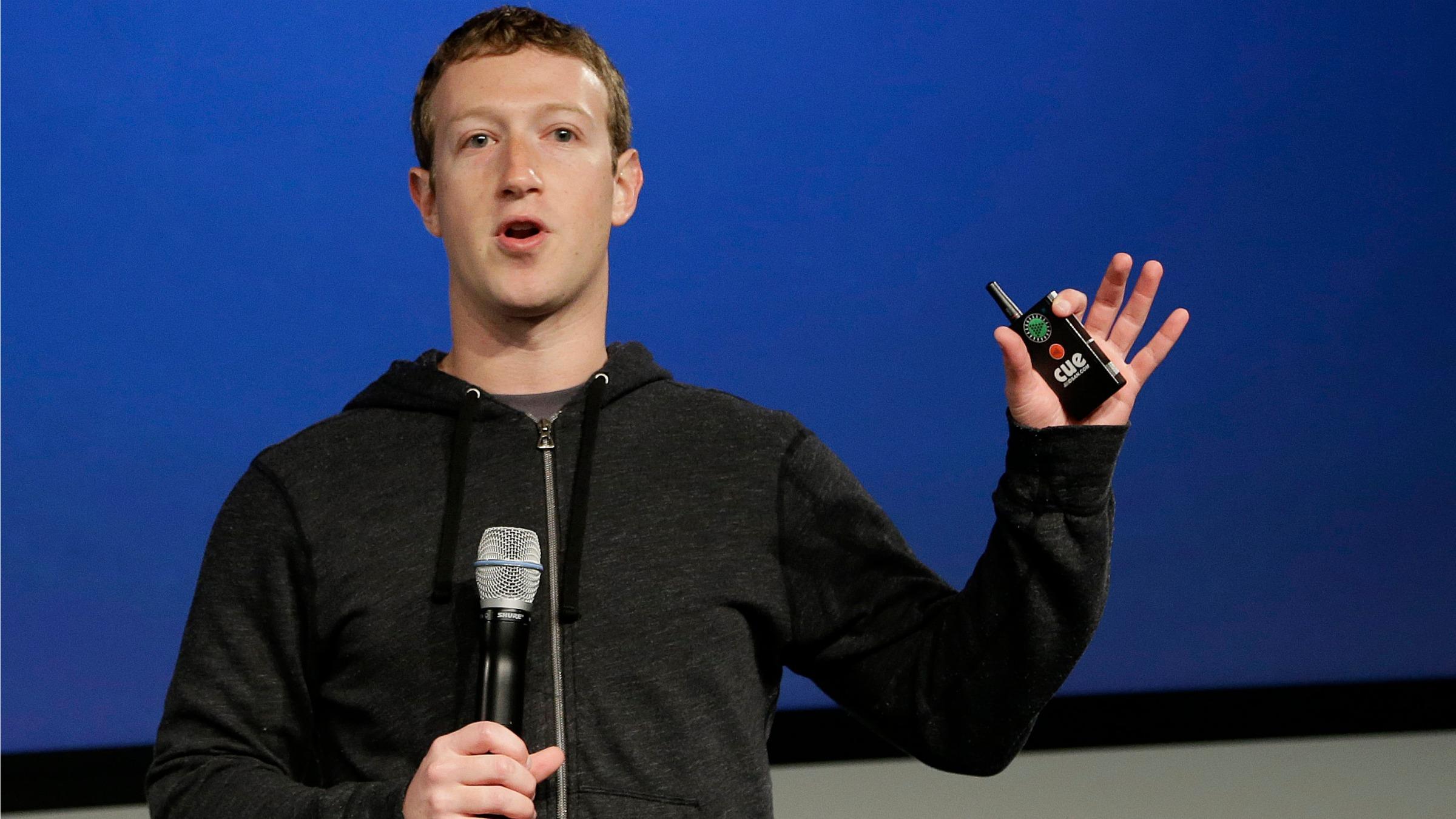 Facebook CEO Mark Zuckerberg speaks at Facebook headquarters in Menlo Park.