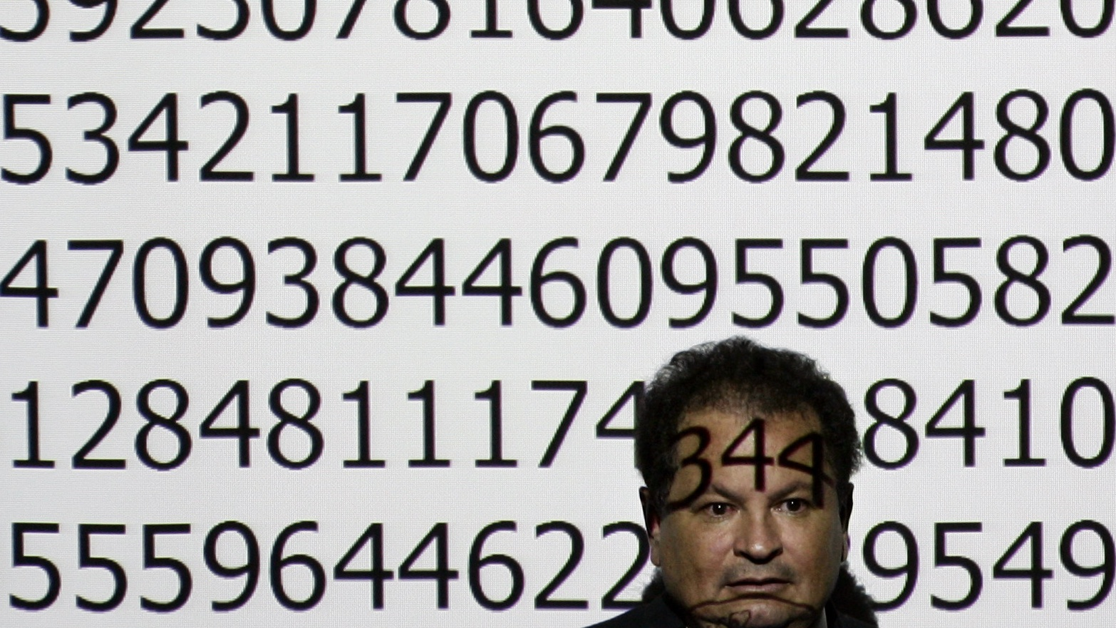Jaime Garcia Serrano, from Colombia, poses before starting an exhibition of mathematics  and memory skills in front  of a screen with the number pi at the University Computense of Madrid, Thursday, Jan. 24, 2008. Garcia Serrano recited by memory and for hours, random sections of the number pi taken to 150.000 decimal places. (AP Photo/Bernat Armangue)