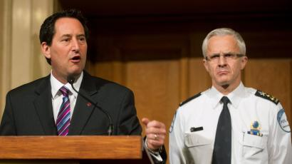 Montreal Mayor Michael Applebaum and Montreal chief of police Marc Parent