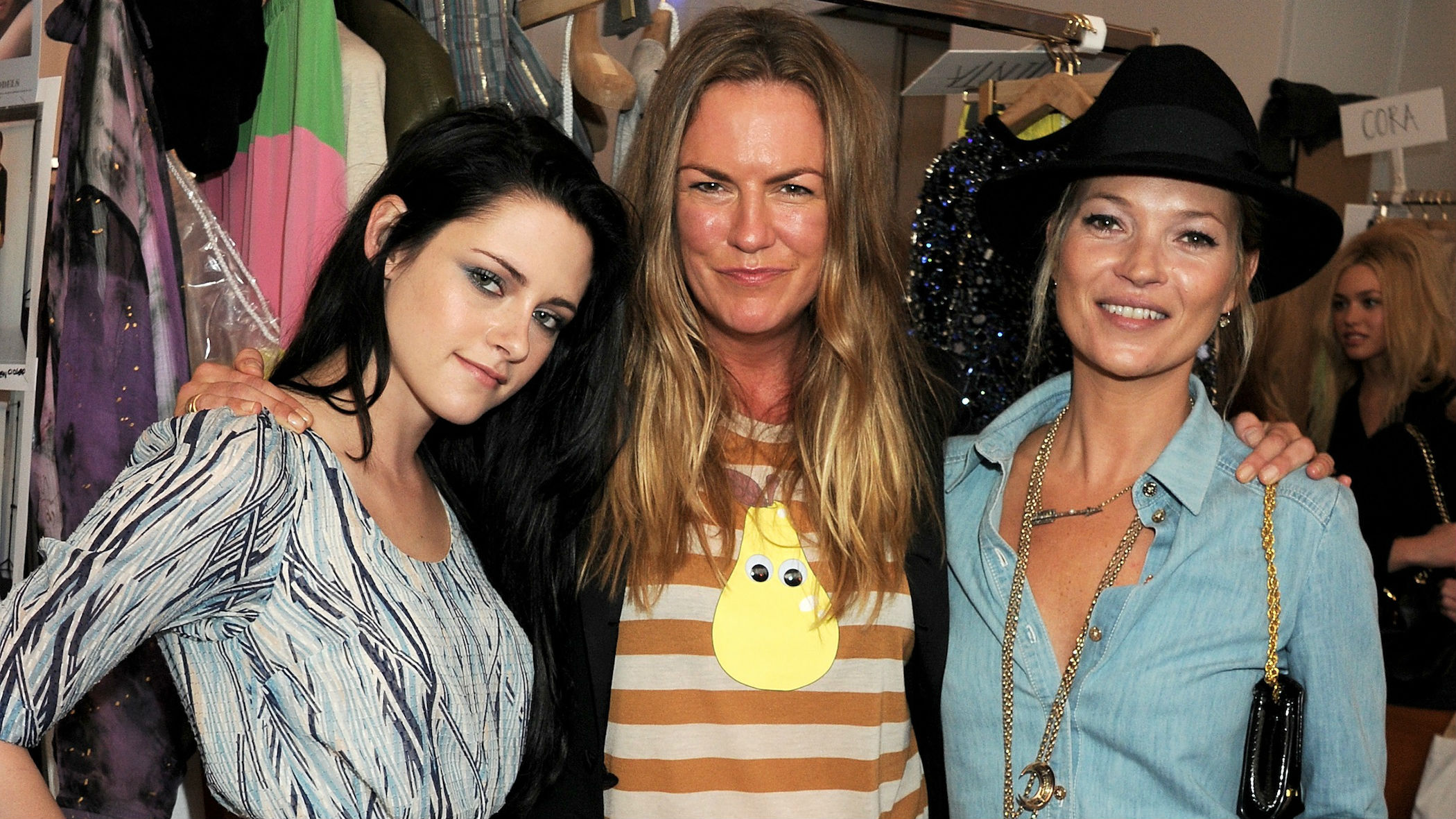Emma Hill (middle) backstage at a Mulberry runway show with Kristen Stewart and Kate Moss (right).