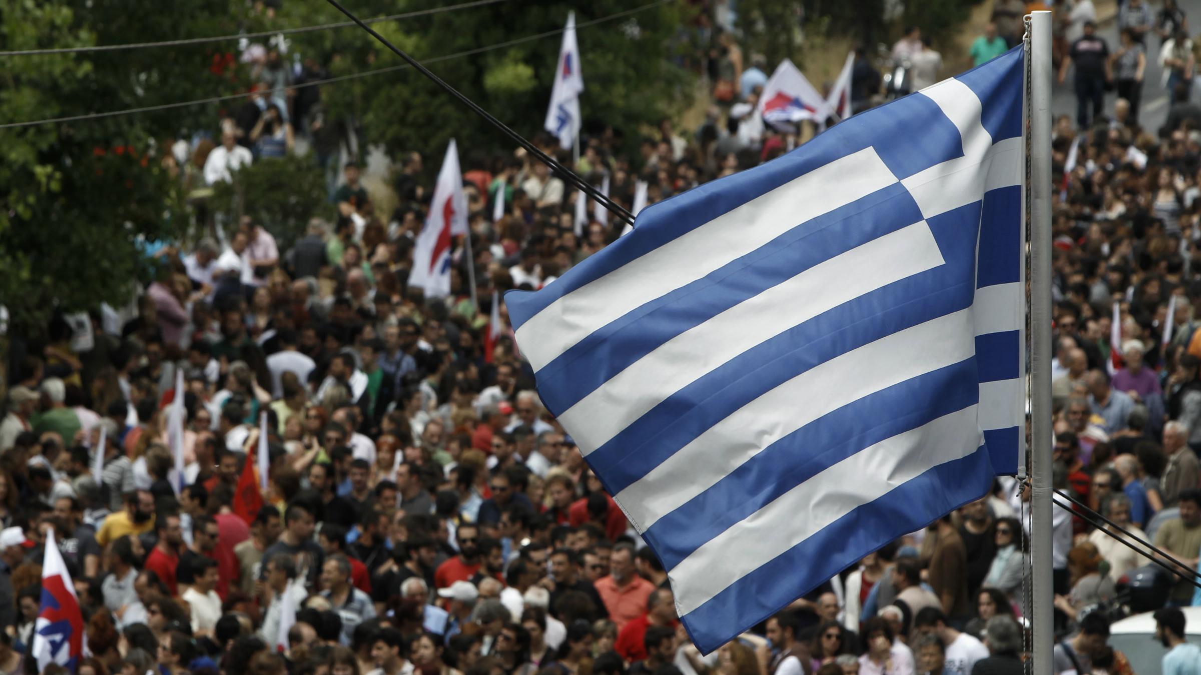 greece political unrest flag protest