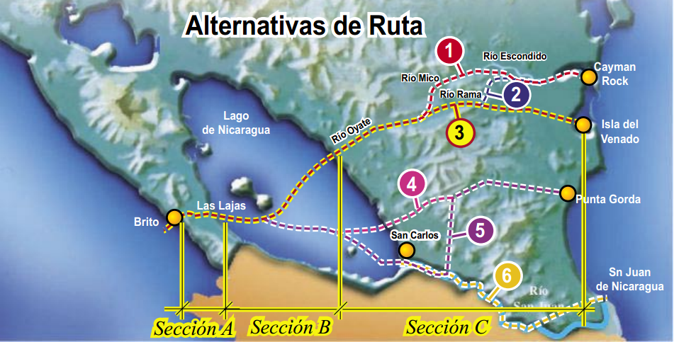 nicaragua canal routes 2006
