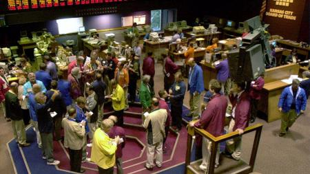 Kansas City Board of Trade trading floor open outcry