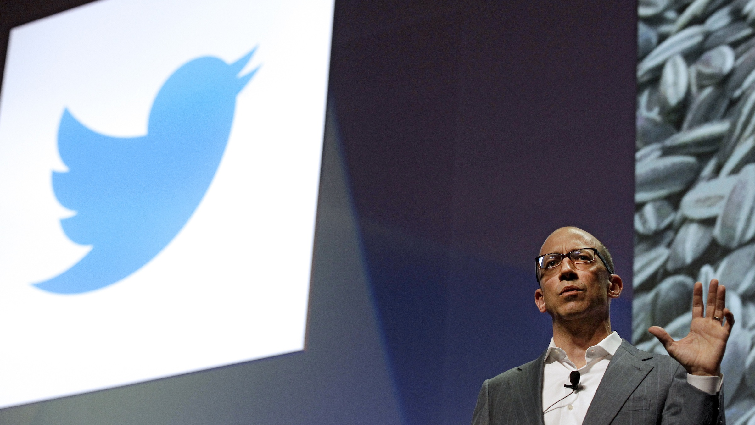 Chief Executive Officer at Twitter, Dick Costolo from USA is seen during a speech at the Cannes Lions 2012, International Advertising Festival in Cannes, southern France, Wednesday, June 20, 2012. The Cannes Lions International Advertising Festival is a world's meeting place for professionals in the communications industry.(AP Photo/Lionel Cironneau)