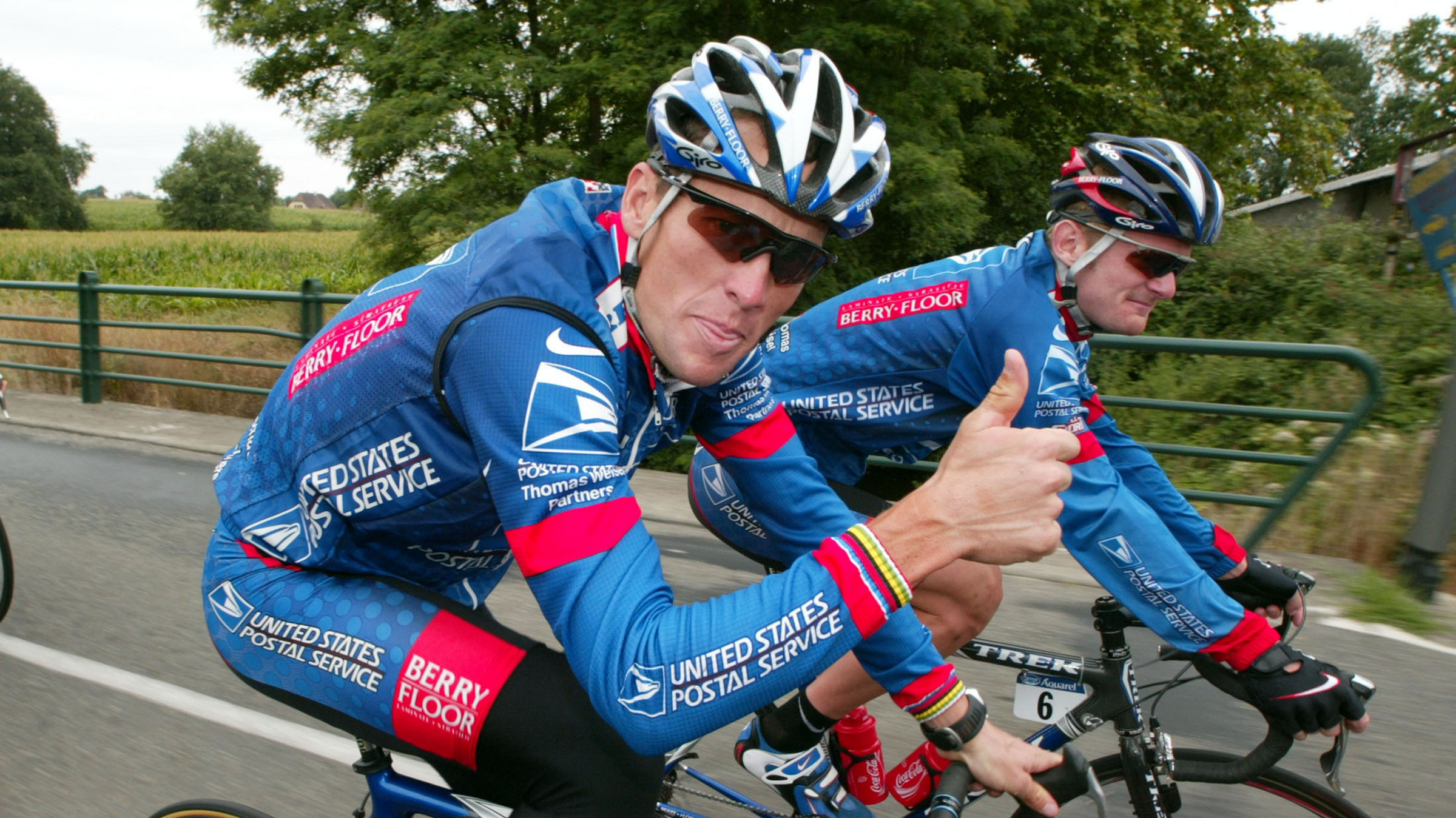 LANCE ARMSTRONG OF THE USA RIDES WITH TEAM MATE FLOYD LANDIS OF THE USA DURING A PRACTICE SESSION IN THE SECOND REST DAY OF THE TOUR DE FRANCE.