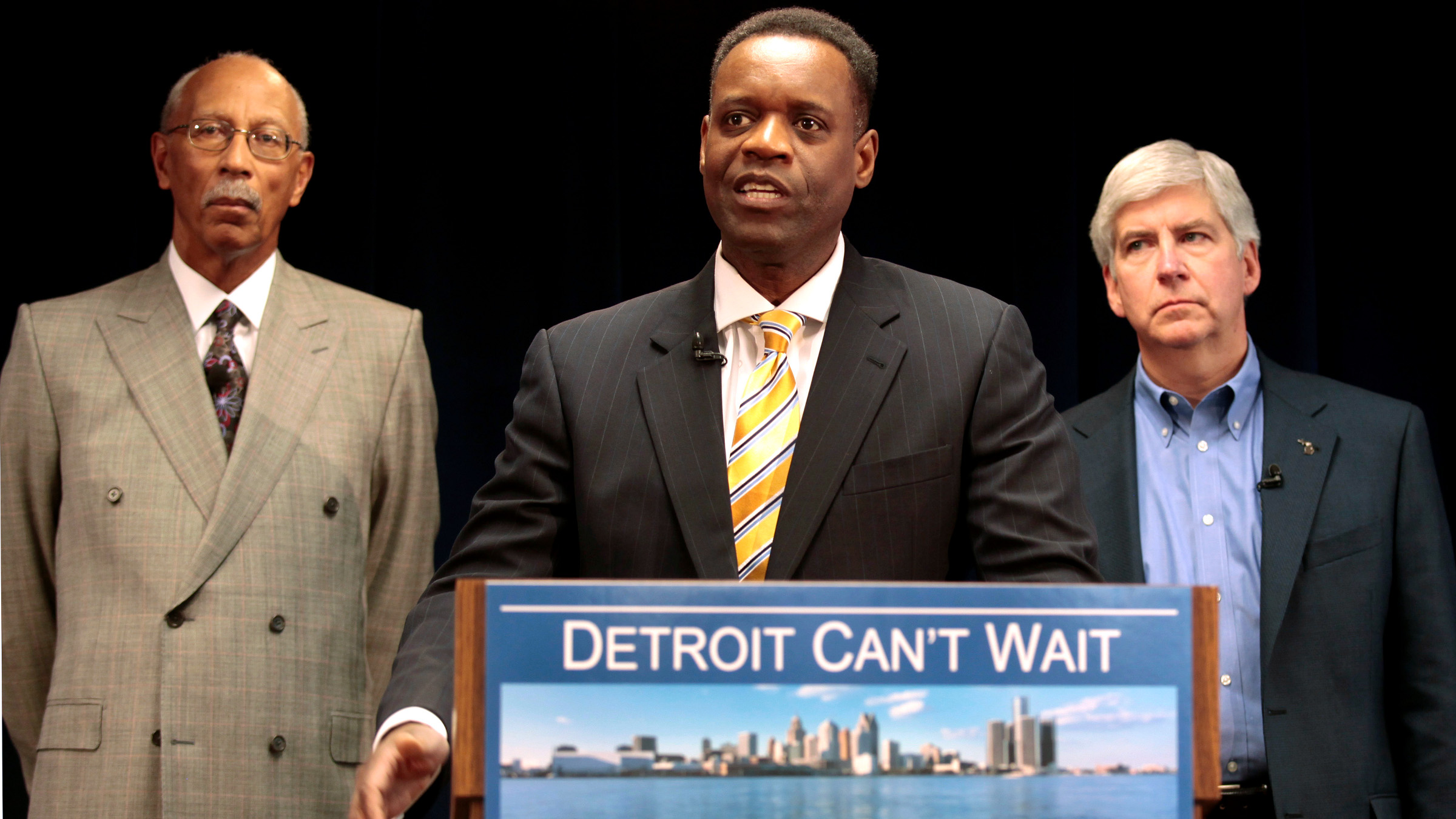 :awyer Kevyn Orr (C) addresses the media, as Detroit Mayor Dave Bing (L) and Michigan Governor Rick Snyder listen, after Snyder announced Orr as his choice for emergency financial manager for the city of Detroit, in the state offices at Cadillac Place in Detroit, Michigan March 14, 2013. For fixing the finances of the majority black city, Snyder tapped Orr, an African-American lawyer and life-long Democrat who studied in Michigan and specializes in corporate bankruptcy. At his presentation to the Detroit media on Thursday, Orr acknowledged the political pressures on Snyder, including from those who asked why he was spending so much time on Detroit.
