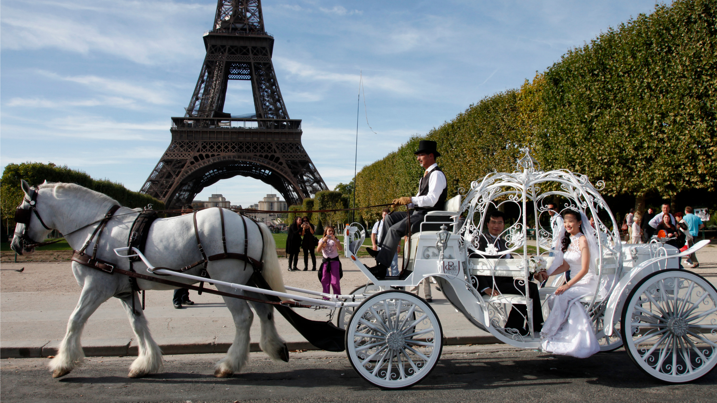 Newly-weds Doctor Kenneth Ma and Jacqueline pose in a Cinderella carriage in front the Eiffel Tower in Paris.