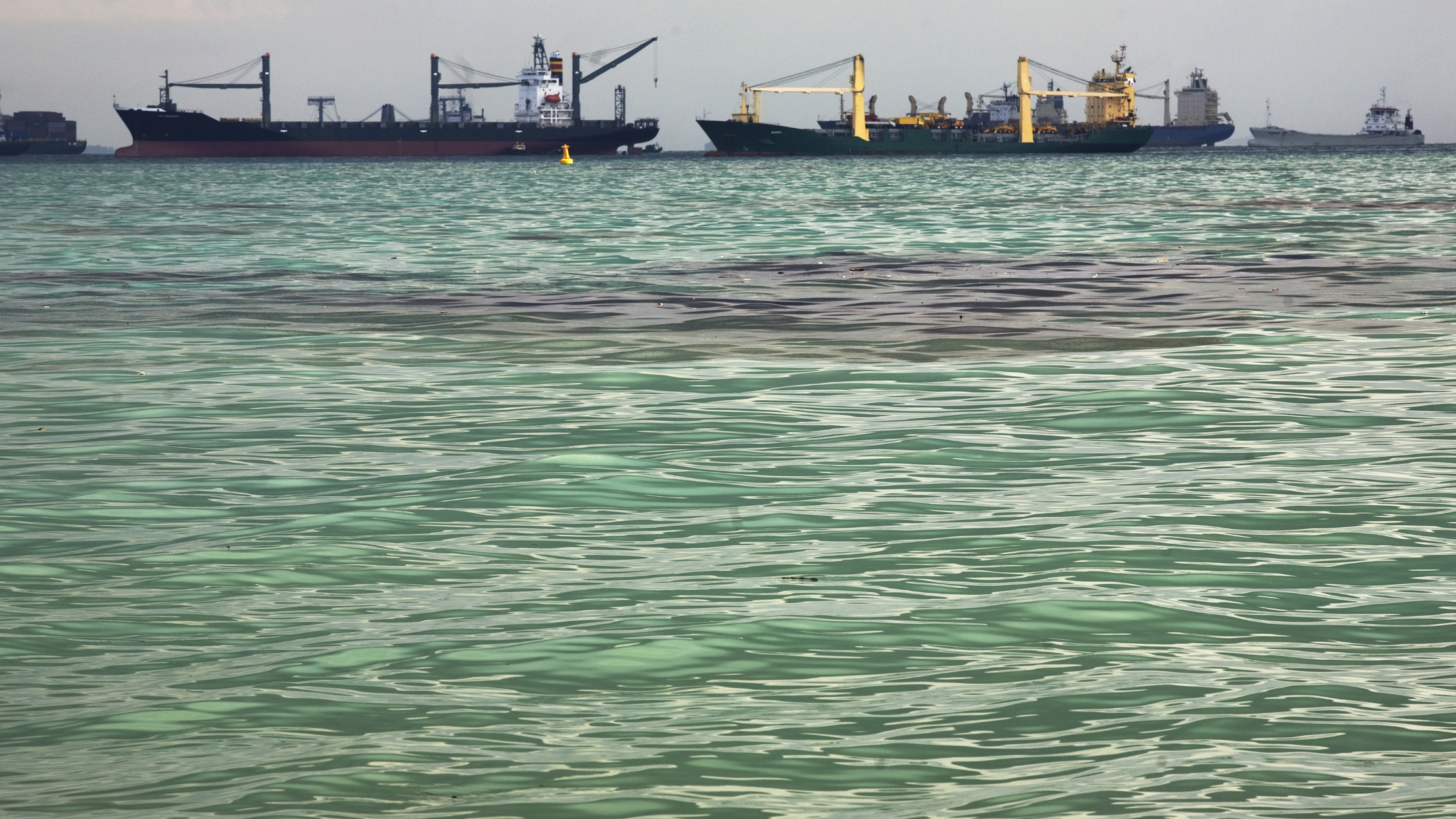 Ships and oil are seen off the beach at East Coast Park just east of the playground at Big Splash Water Park in Singapore May 27, 2010. Singapore closed most of its eastern beaches due to the oil spilt in nearby waters following a collision between a tanker and a bulk carrier earlier this week, the environmental agency said on Thursday. The oil slick affected a stretch of more than 7 kilometres (4.4 miles) of eastern Singapore, which include beaches, rock bunds and popular recreational and sailing areas, the National Environmental Agency (NEA) said REUTERS/Drew Fritz