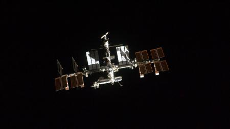 This is one of a series of images showing the International Space Station photographed by a crewmember onboard the space shuttle Atlantis as the two spacecraft performed rendezvous and docking operations on the STS-135 mission's third day in Earth orbit.