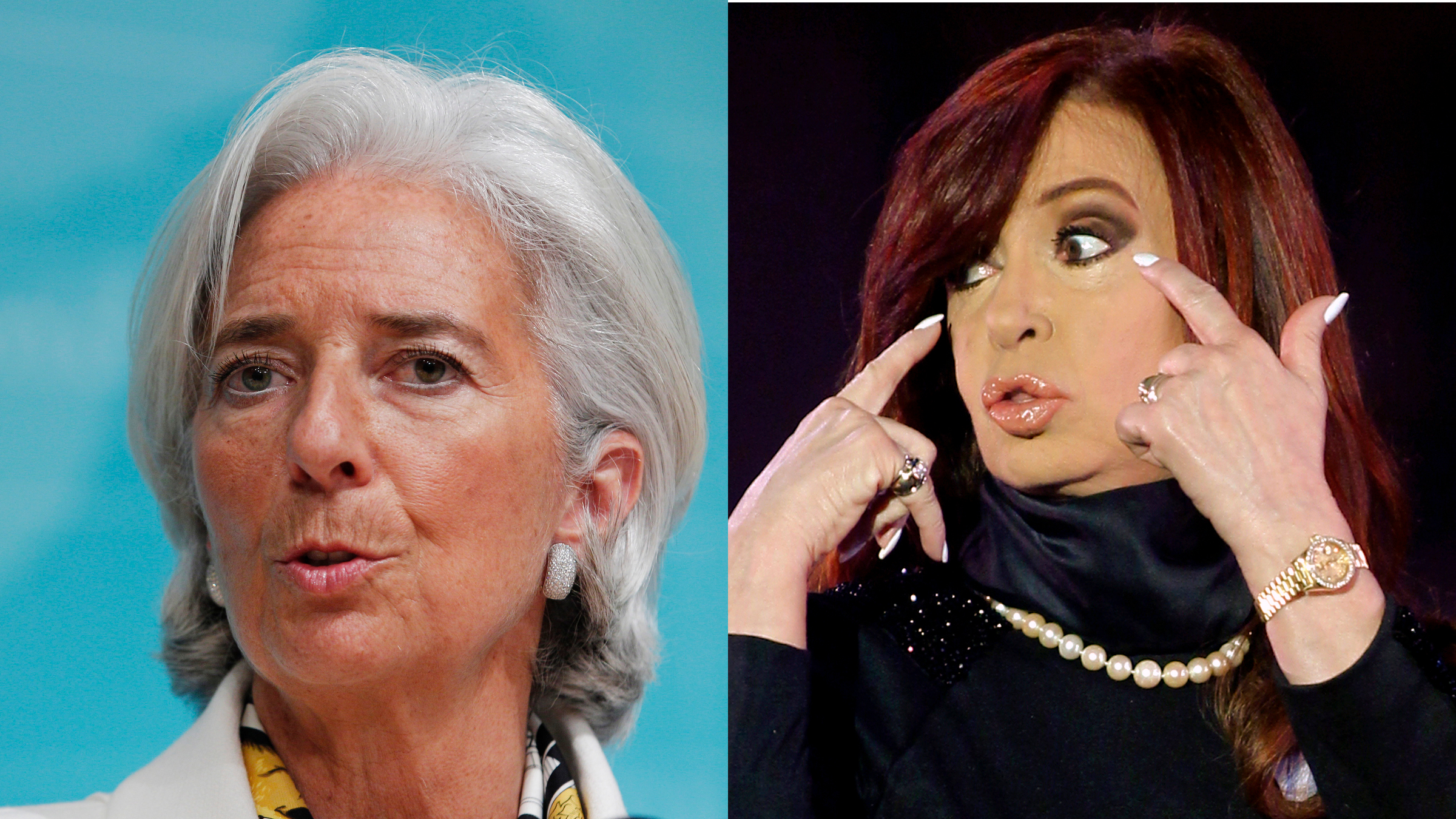 International Monetary Fund Managing Director Christine Lagarde speaks during a news conference at IMF headquarters in Washington June 14, 2013. /Argentina's President Cristina Fernandez de Kirchner gestures to supporters during a rally outside Casa Rosada Presidential Palace in Buenos Aires May 25, 2013.