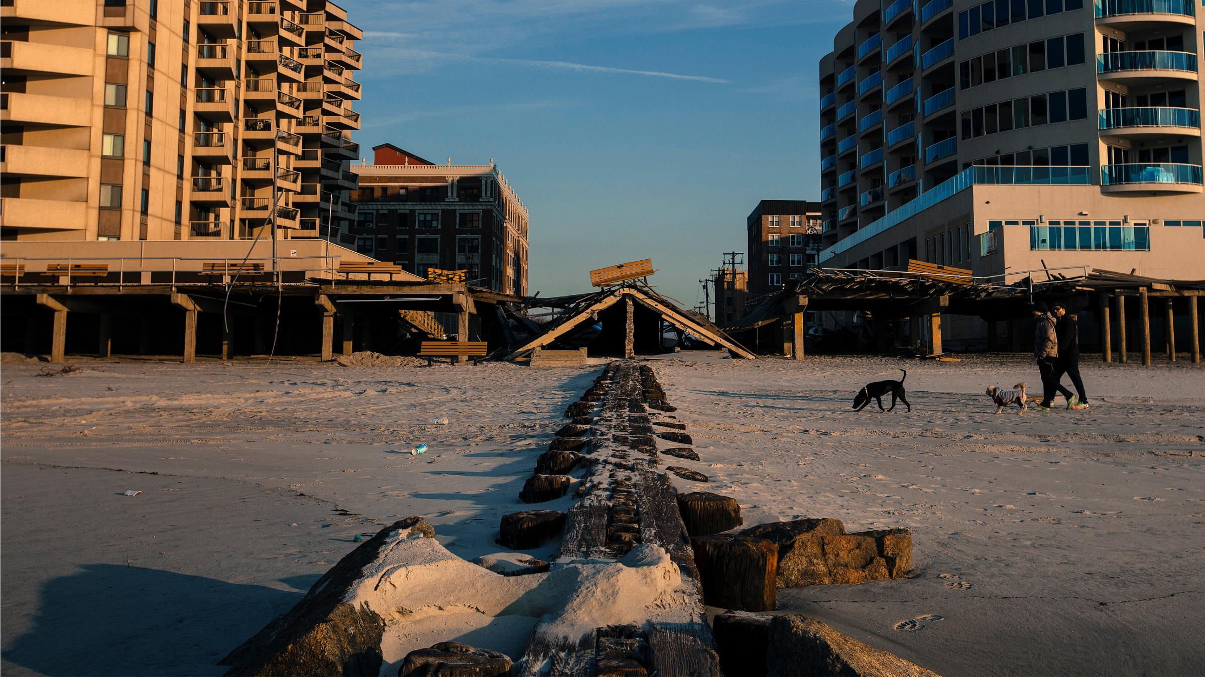 Sandy-battered boardwalk