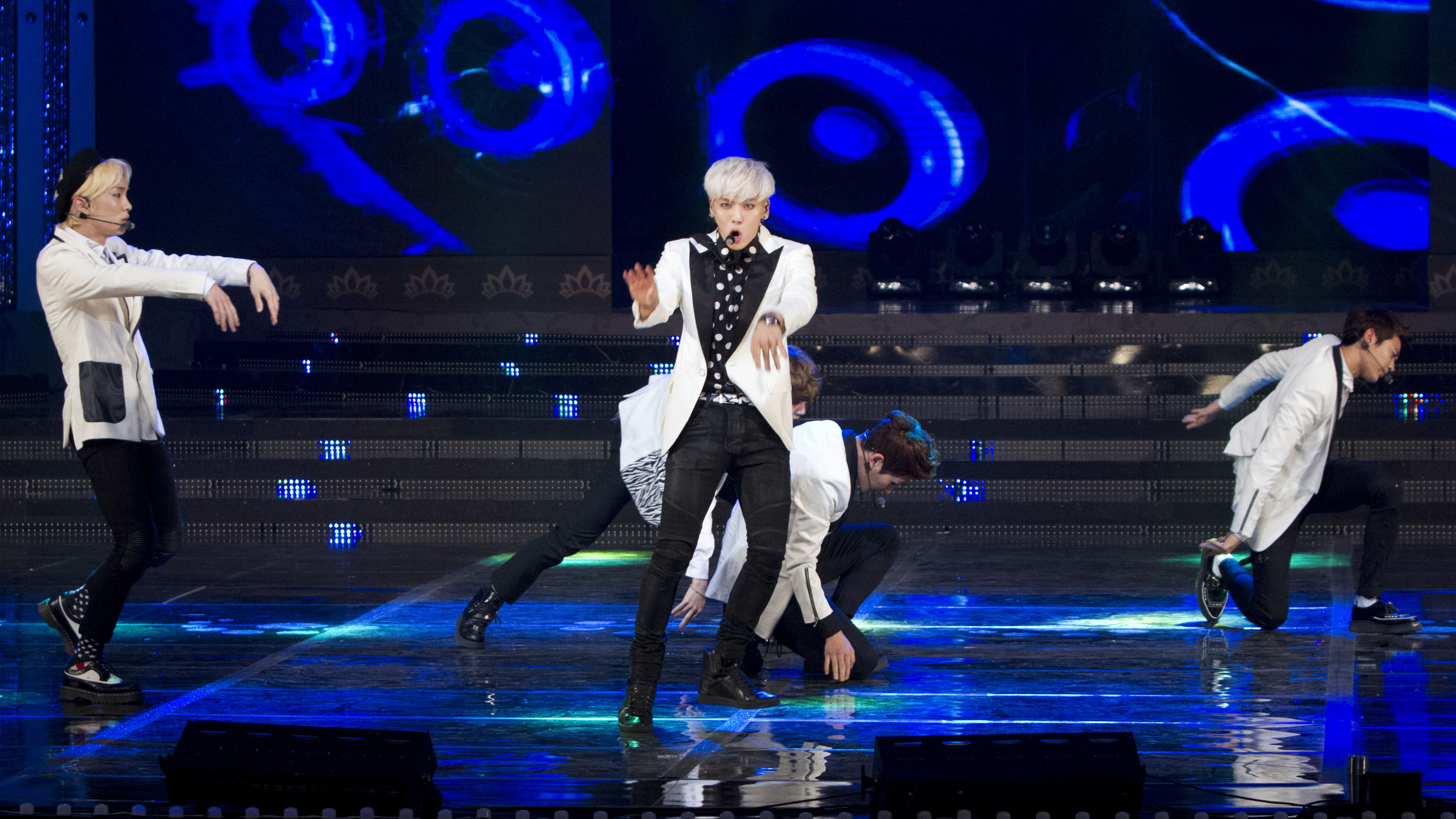 Seoul, South Korea - South korean K-Pop boys group SHINee, performs onstage during the 2013 Miss Korea Beauty Pageant at Sejong Culture Center in Seoul, South Korea on June 4, 2013. (Photo by Lee Young-Ho/Sipa USA) (Sipa via AP Images