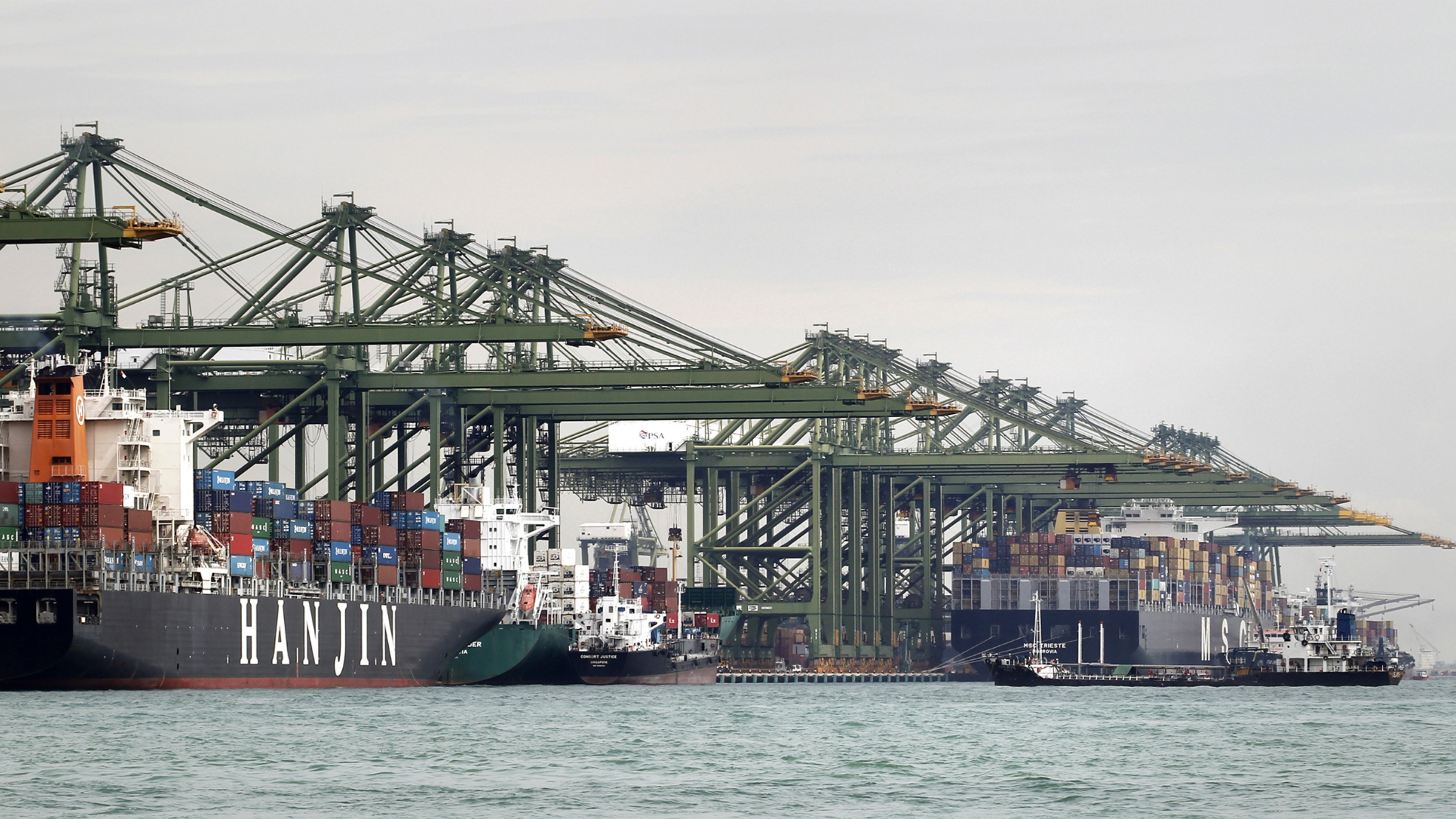 Hanjin shipping line container ship docked at PSA, Singapore, on 4 December 2012. (Singapore Press via AP Images