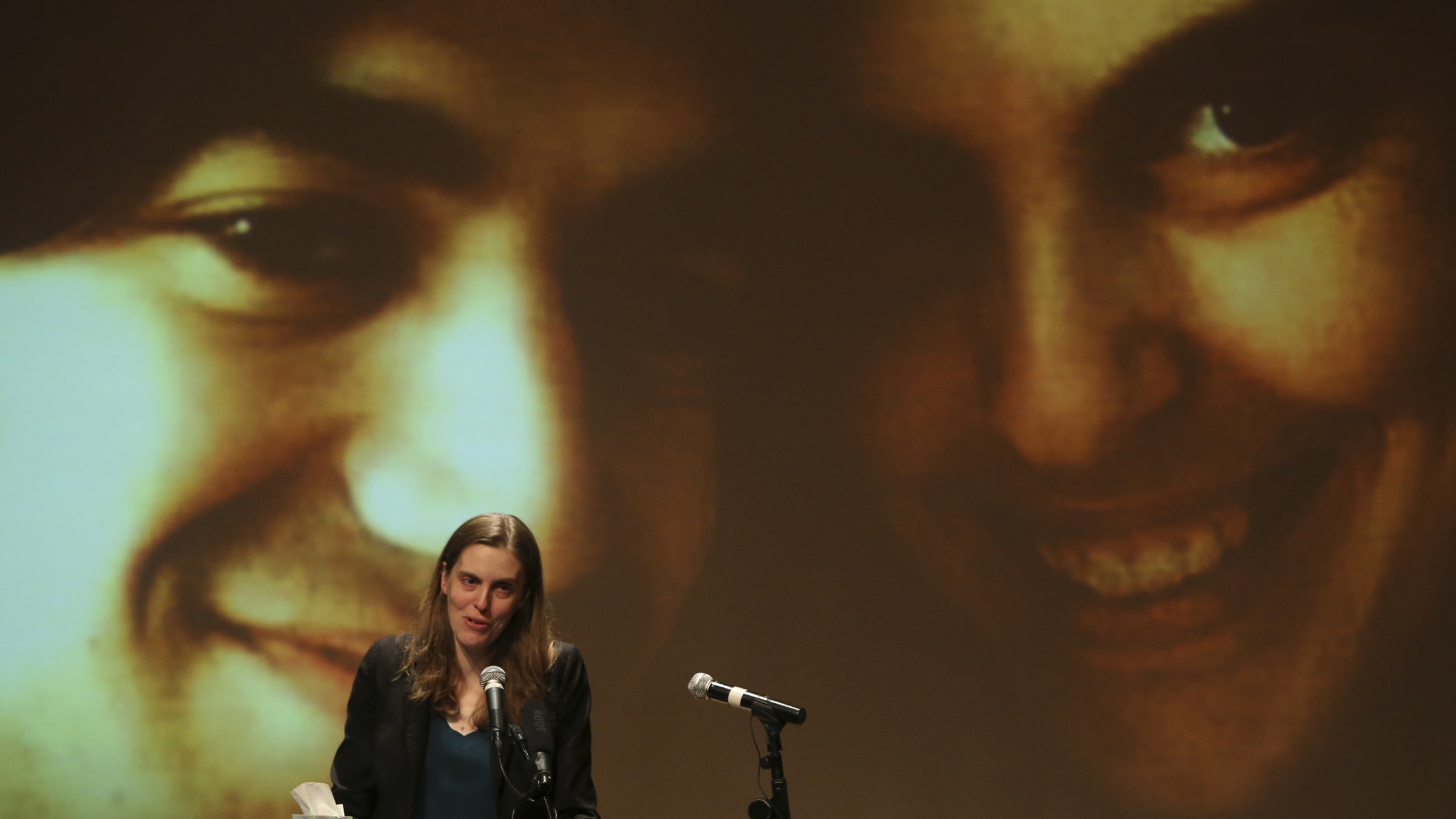 Taren Stinebrickner-Kauffman, Aaron Swartz's partner and Founder and Executive Director of SumOfUs.org, speaks during his memorial service, Saturday, Jan. 19, 2013 in New York. Friends and supporters of Swartz paid tribute Saturday to the free-information activist and online prodigy, who killed himself last week as he faced trial on hacking charges. (AP Photo/Mary Altaffer)