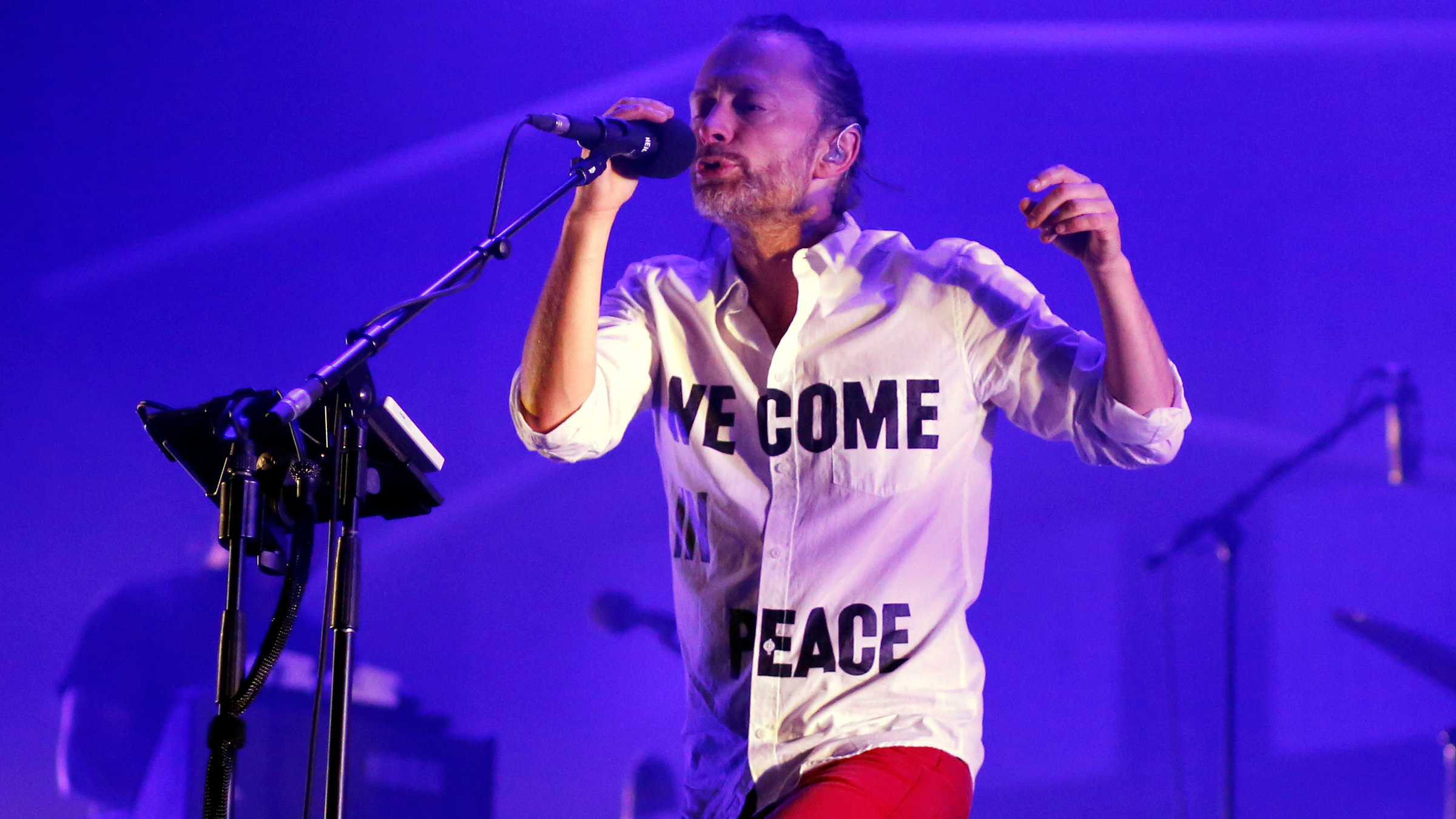 "Singer Thom Yorke of the band ""Atoms for Peace"" performs during the third day of the 13th EXIT music festival at Petrovaradin Fortress, in Novi Sad July 13, 2013."