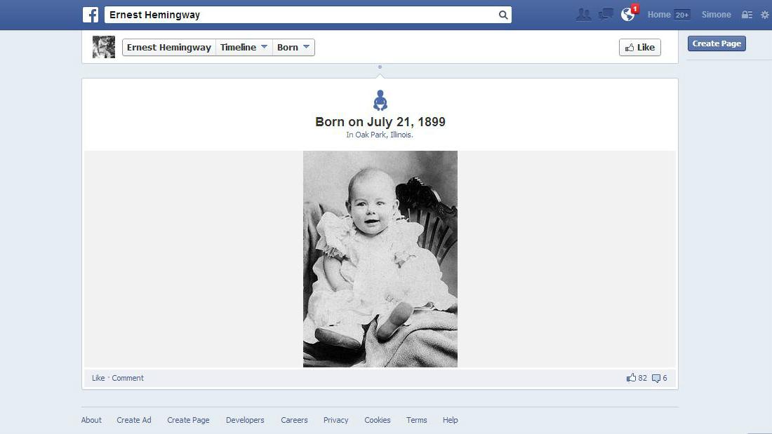 ernest hemingway Facebook page