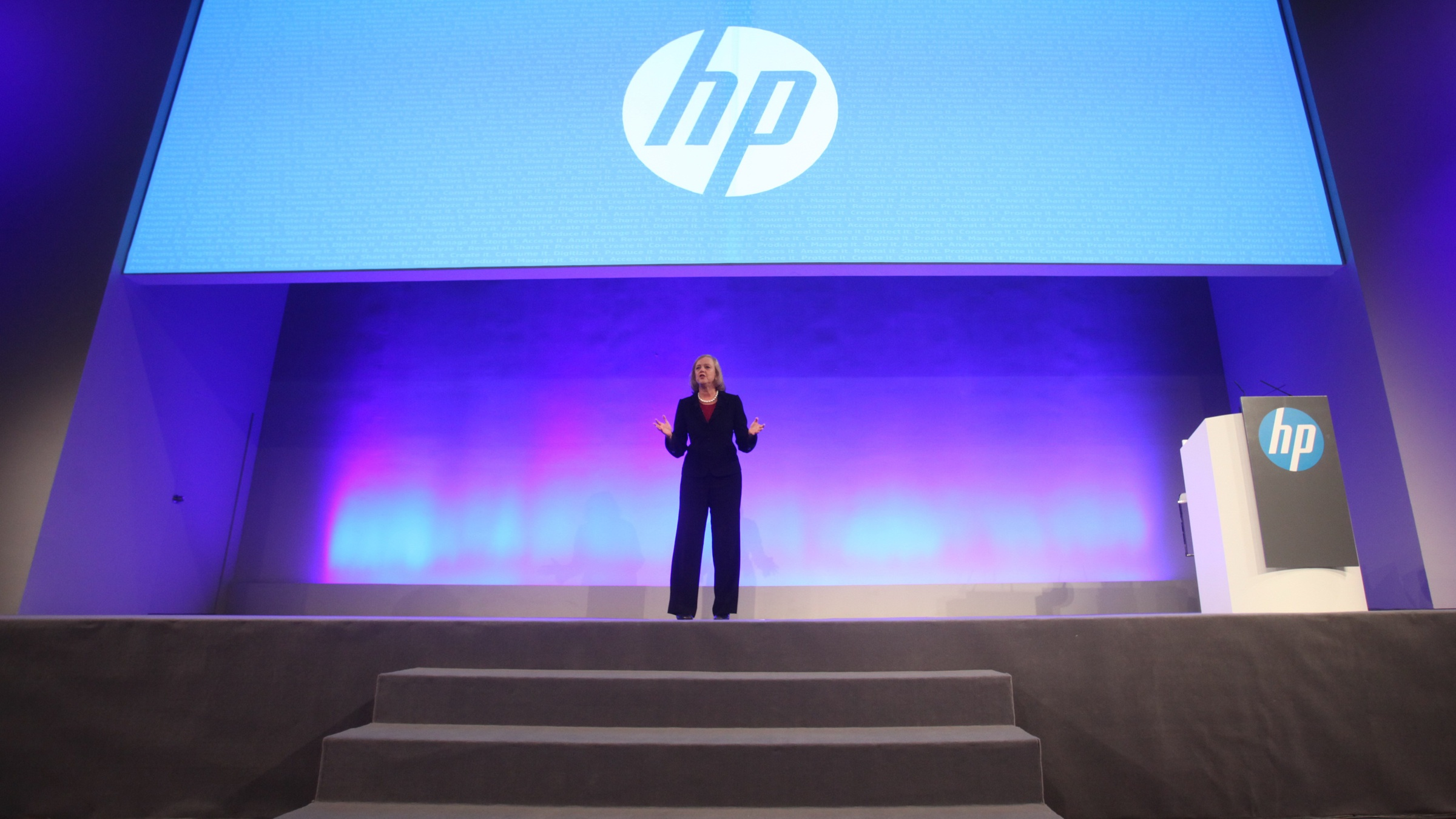 HP (Hewlett-Packard) CEO Meg Whitman delivers a speech during the HP World Tour in Beijing, China, 25 June 2013.  HP CEO Meg Whitman stressed her companys future viability at an event in Beijing on Tuesday (25 June 2013) as HP tried to win Chinese business customers. Believe me, HP is here to stay, Whitman said in a keynote speech at the HP World Tour in Beijing. We have come a long way since I joined Hewlett-Packard 20 months ago. HP has made the rapidly growing Chinese market a strong international focus. Whitman and other HP officials took their case directly to Chinese businesses at the two-day event, which for businesses focused on storage, big data, cloud and printing.