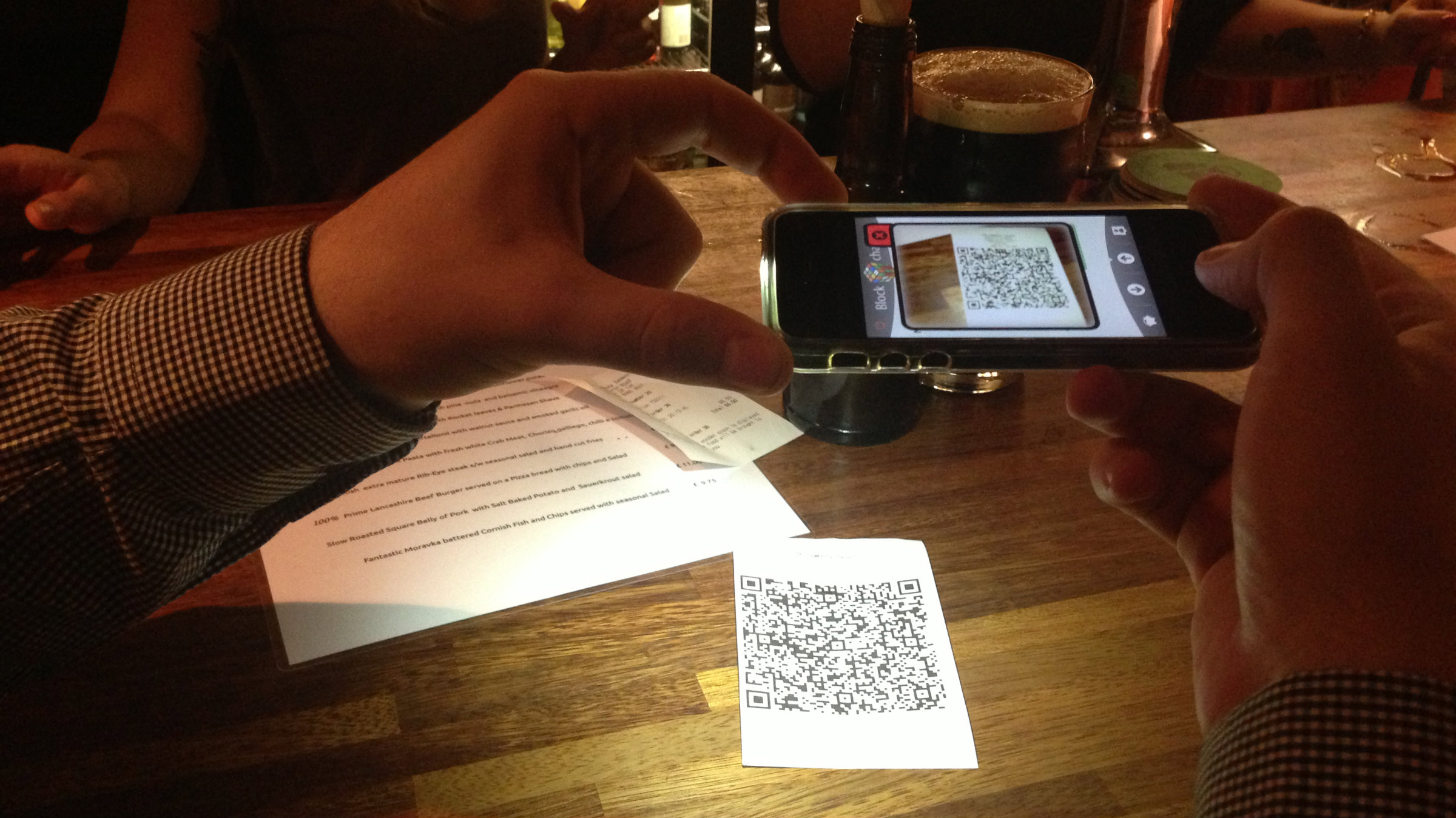 Paying for a pint with Bitcoin at the Pembury Tavern in east London.