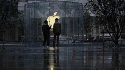 People outside an Apple store in Shanghai.