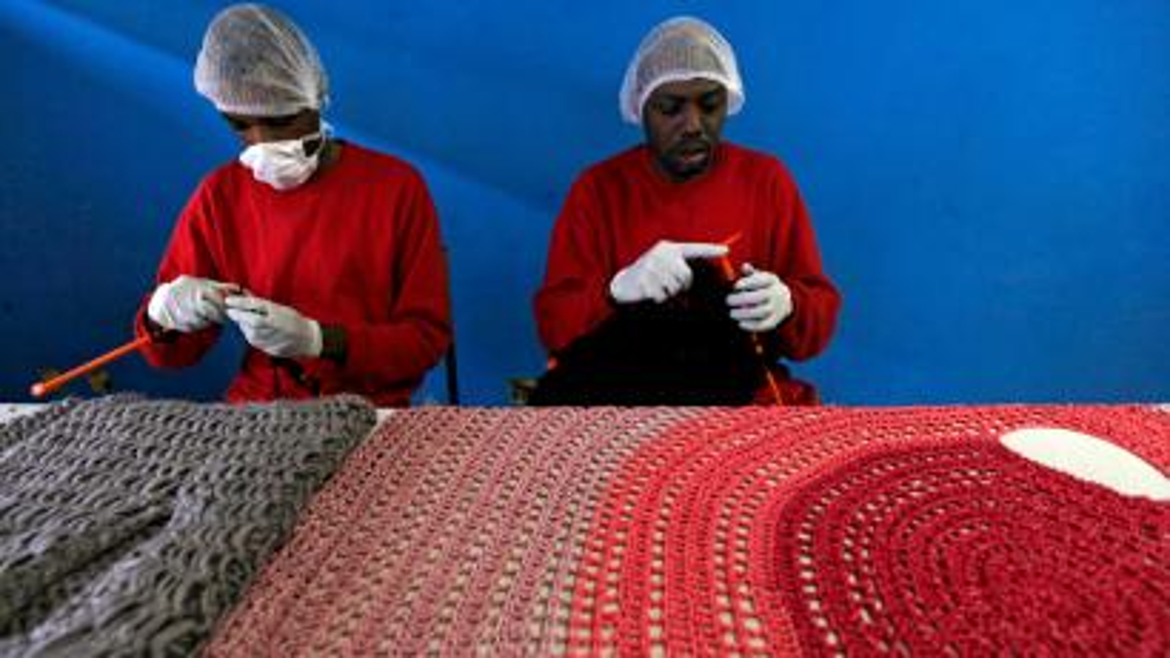 Prison inmates knitting
