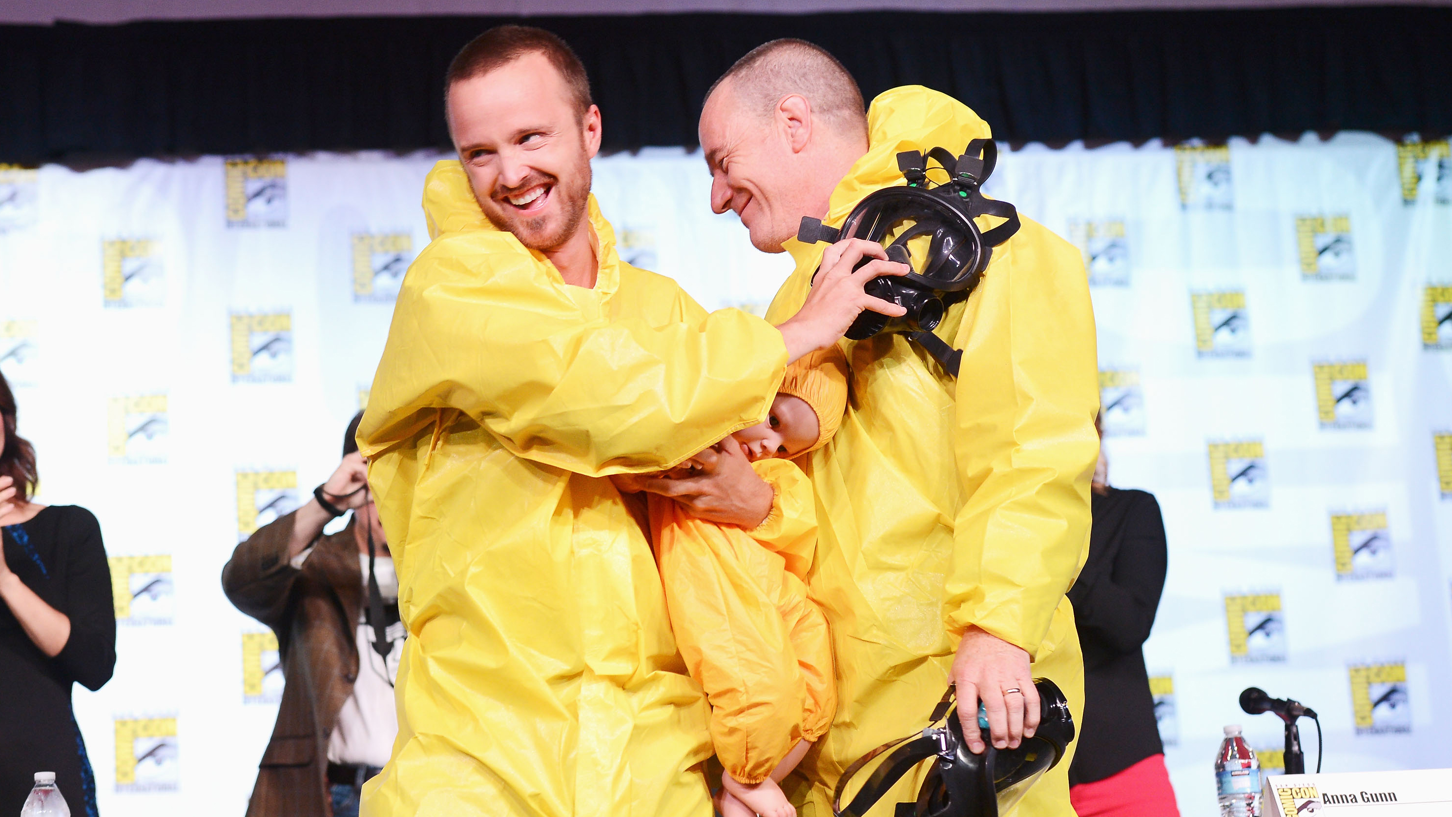 Actors Aaron Paul and Bryan Cranston speak at AMC's 'Breaking Bad' Panel during Comic-Con International 2012 at San Diego Convention Center on July 13, 2012 in San Diego, California.