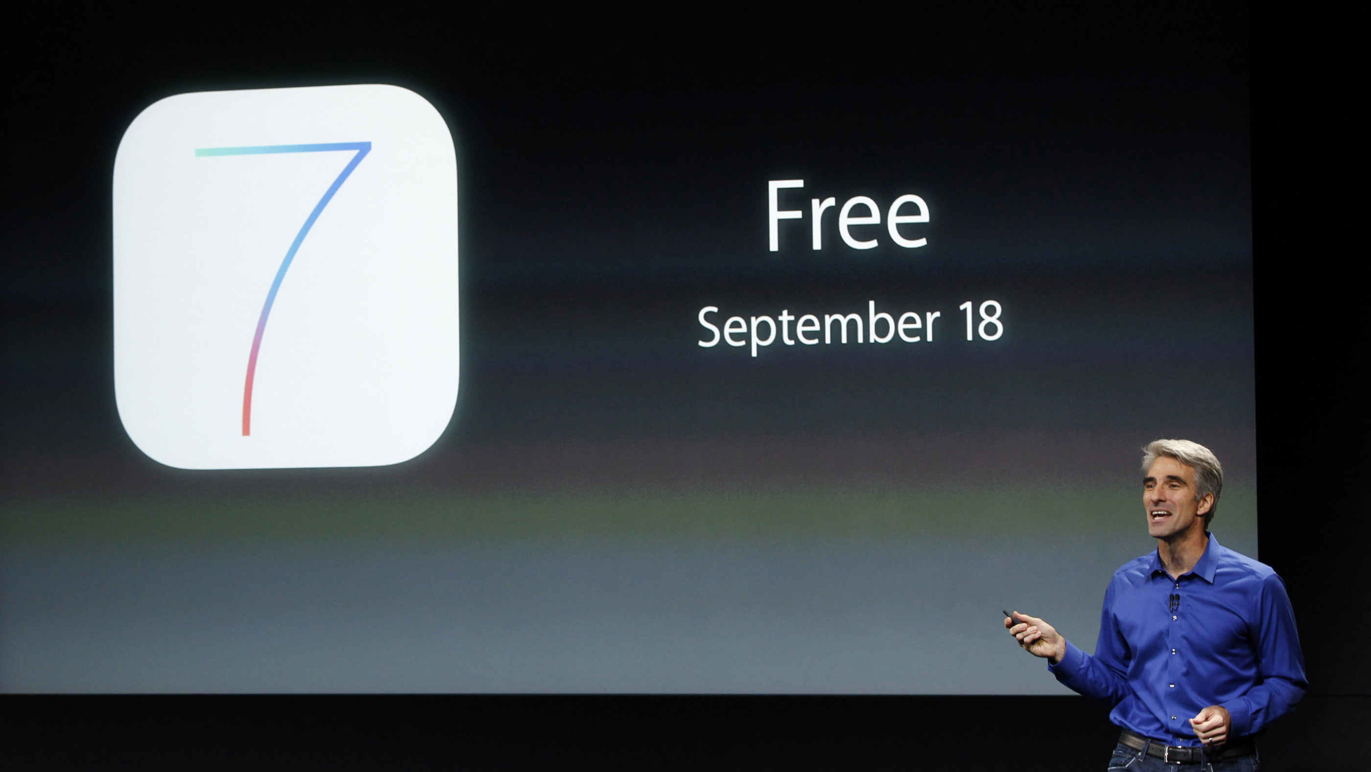 Apple's Craig Federighi talks about iOS7 at the company's event in Cupertino, California.
