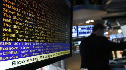 Bloomberg terminal displaying a list of headlines.