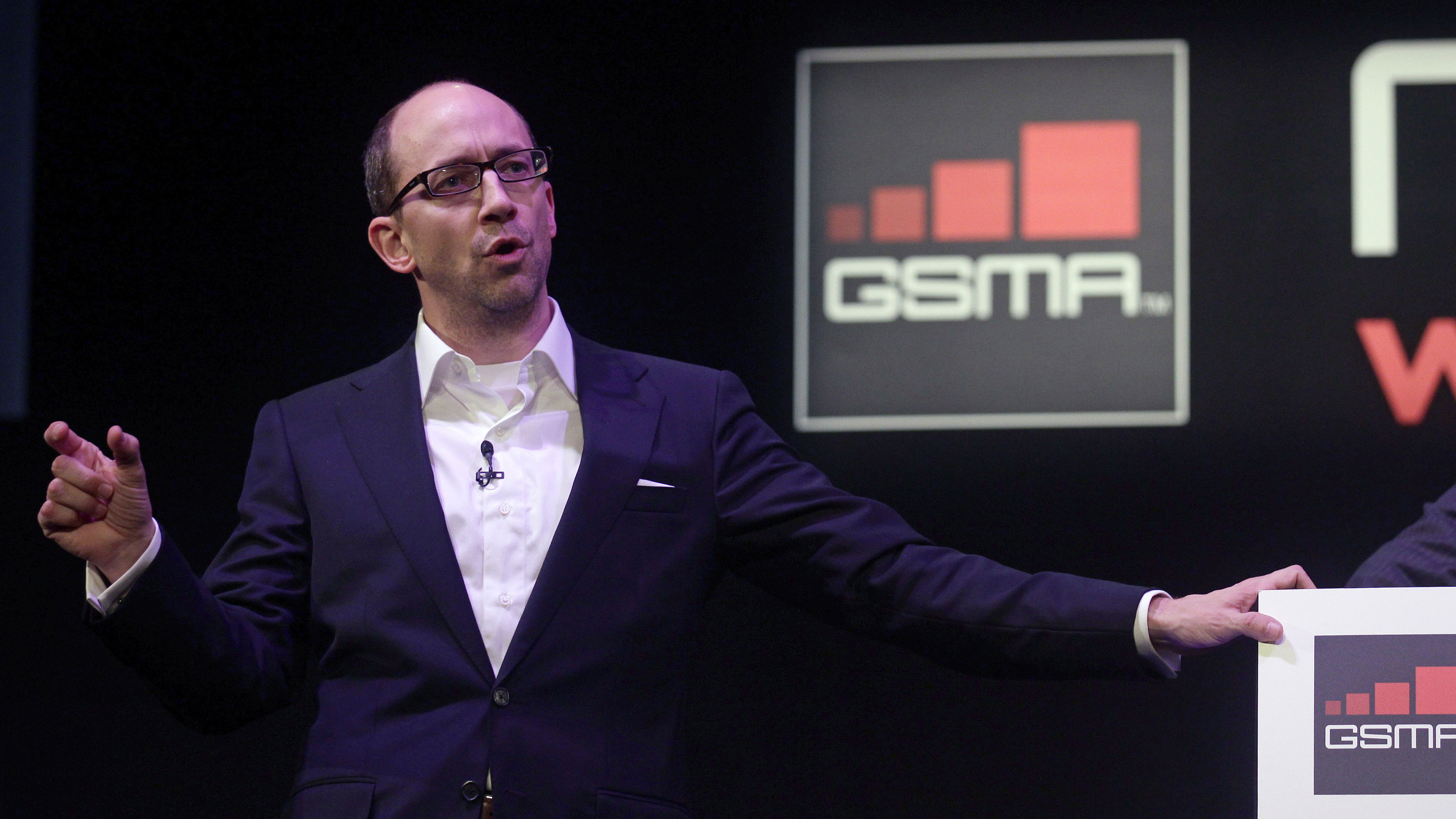 Twitter's CEO Dick Costolo gestures during a conference at the GSMA Mobile World Congress in Barcelona, February 14, 2011. The GSMA Mobile World Congress, representing the interests of the worldwide mobile communications industry, will take place from February 14 to February 17 in Barcelona. REUTERS/Albert Gea (SPAIN - Tags: BUSINESS SCI TECH)