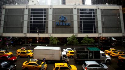 An exterior shot of the Hilton Midtown in New York June 7, 2013. The New York Hilton Midtown, a 2,000-room hotel in Manhattan's commercial district filled with business travelers, tourists and conference-goers, confirmed this week that it would end room service.