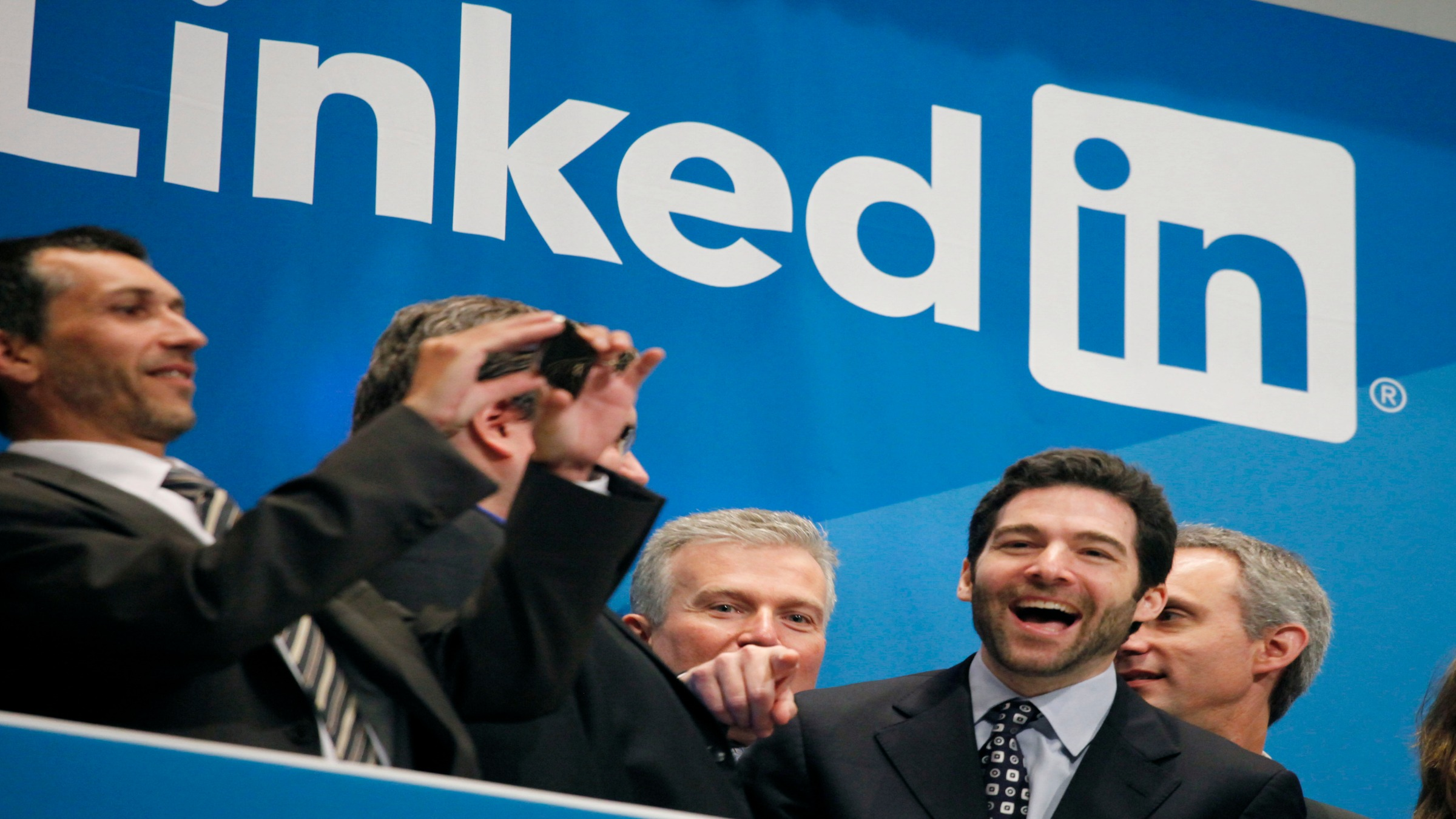 Jeff Weiner, second from right, LinkedIn's CEO, celebrates the company's  listing, Thursday, May 16, 2011 at the New York Stock Exchange. LinkedIn, based in Mountain View, Calif., is an internet-based social networking rolodex for business people.