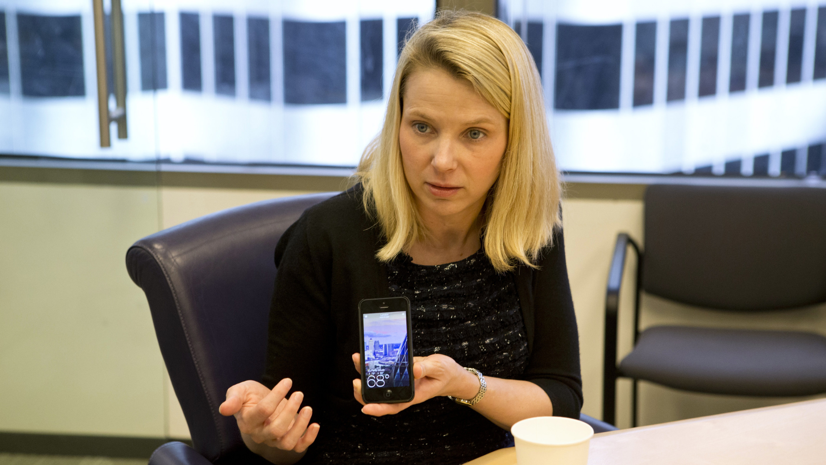 Marissa Mayer with iPhone