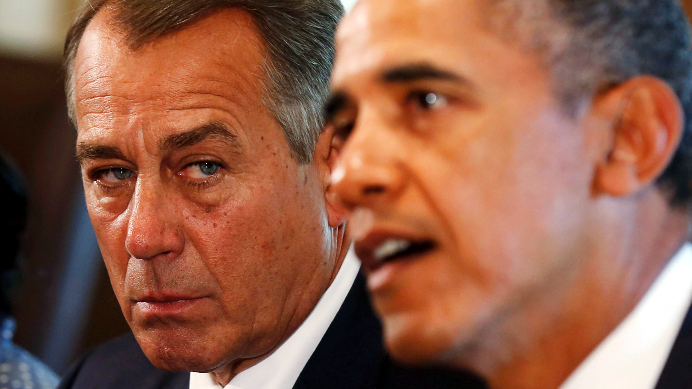 Speaker of the House John Boehner (R-OH) (L) listens to U.S. President Barack Obama during a meeting with bipartisan Congressional leaders in the Cabinet Room at the White House in Washington to discuss a military response to Syria, September 3, 2013. Obama said on Tuesday he was confident that Congress would vote in favor of U.S. military action in Syria and said the United States had a broader plan to help rebels defeat President Bashar al-Assad's forces.