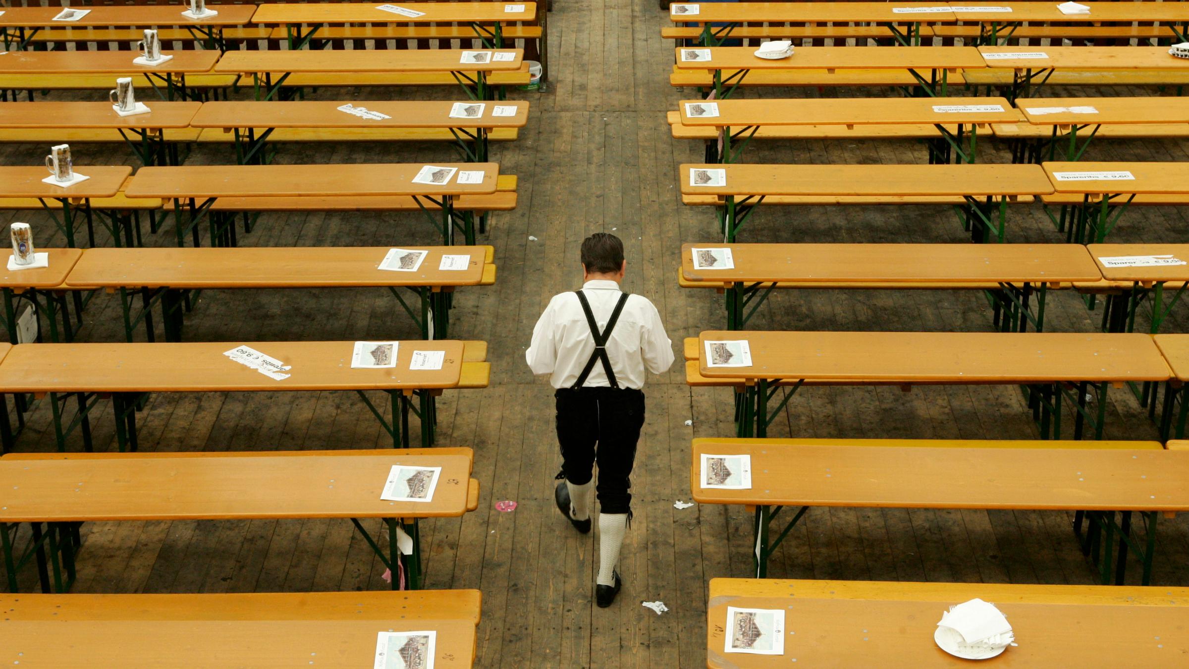 Oktoberfest wooden tables