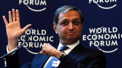 Vikram Pandit, Chief Executive Officer, Citi, of the U.S., Co-Chair of the World Economic Forum Annual Meeting 2012, attends a session at the World Economic Forum (WEF) in Davos, January 25, 2012.