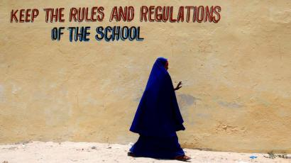 A pupil walks past a classroom at the Hamar boarding school in Somalia's capital Mogadishu, April 2, 2012. Somalia has been beset by conflict since 1991 and different regions are variously controlled by Islamist groups, clan militias or the weak transitional government.