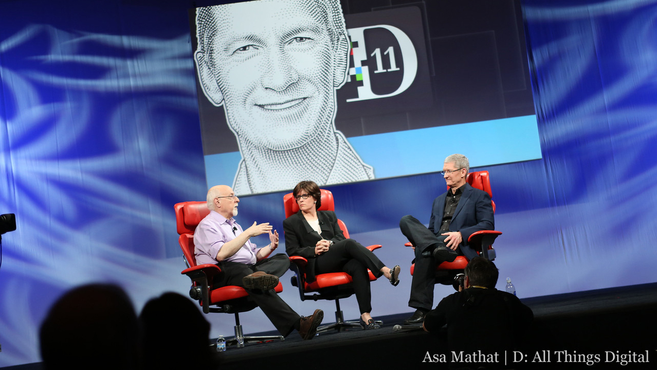 Walt Mossberg and Kara Swisher with Apple CEO Tim Cook at All Things Digital conference
