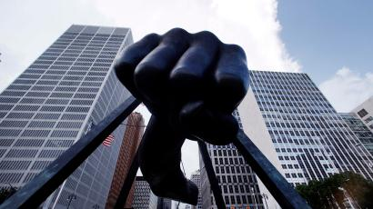 """The Detroit skyline rises behind the Monument to Joe Louis, also known as """"The Fist,"""" Thursday, July 18, 2013. State-appointed emergency manager Kevyn Orr asked a federal judge permission to place Detroit into Chapter 9 bankruptcy protection."""
