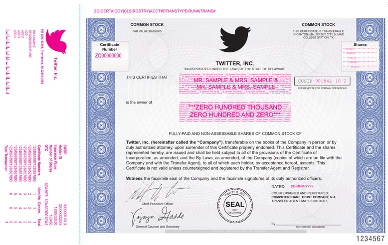 What Twitters Stock Certificate Will Look Like Quartz