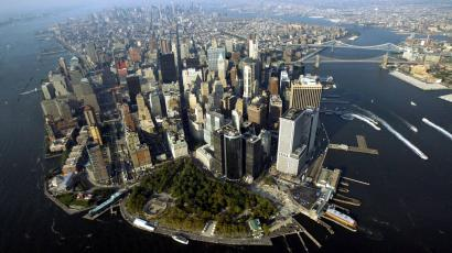 This aerial view shows the Manhattan borough of New York Monday, Aug. 23, 2004. The city prepares to host the Republic National Convention at Madison Square Garden starting Aug. 30.