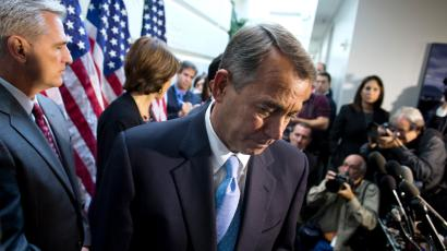 Speaker of the House Rep. John Boehner, R-Ohio, walks away from the microphone during a news conference after a House GOP meeting on Capitol Hill on Tuesday, Oct. 15, 2013 in Washington. House GOP leaders Tuesday pitched a plan to fellow Republicans to counter an emerging Senate deal to reopen the government and forestall an economy-rattling default on U.S. obligations. But they stopped short of promising a vote later in the day after the plan got mixed reviews from the rank and file.
