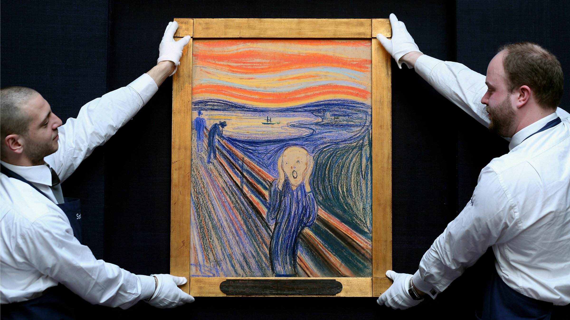 """The Scream"" on display in Sotheby's in London."
