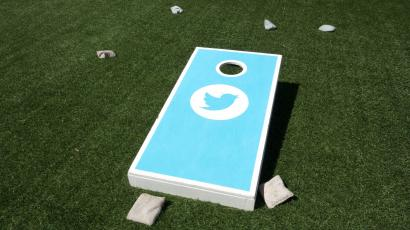 Game of Bags on the roof of Twitter headquarters.