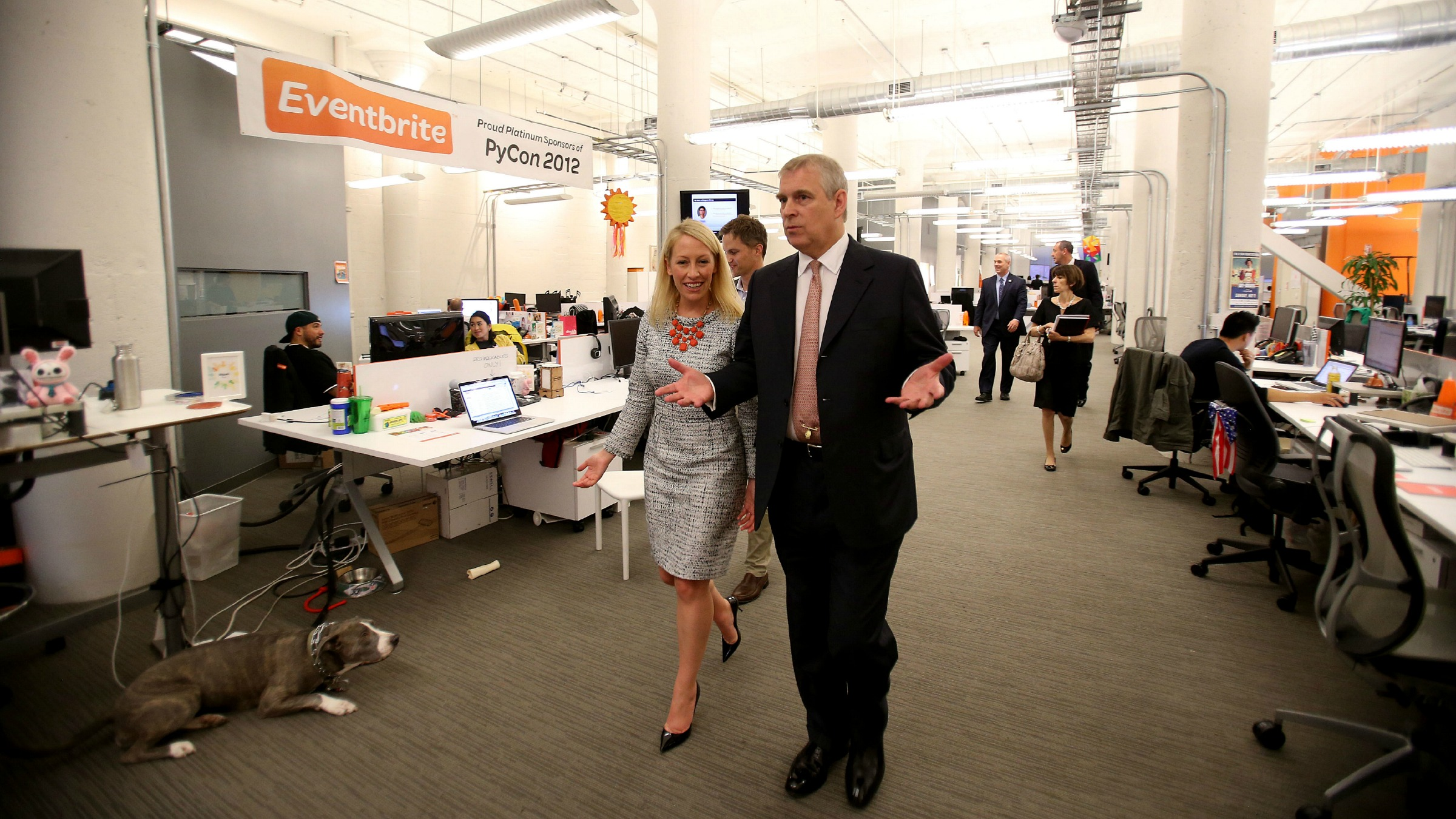 Prince Andrew, Duke of York is seen visting Evenbrite with founders Julia and Kevin Hartz, on Tuesday, June 26, 2013 in San Francisco, CA.  (Jed Jacobsohn/AP Images for Eventbrite)