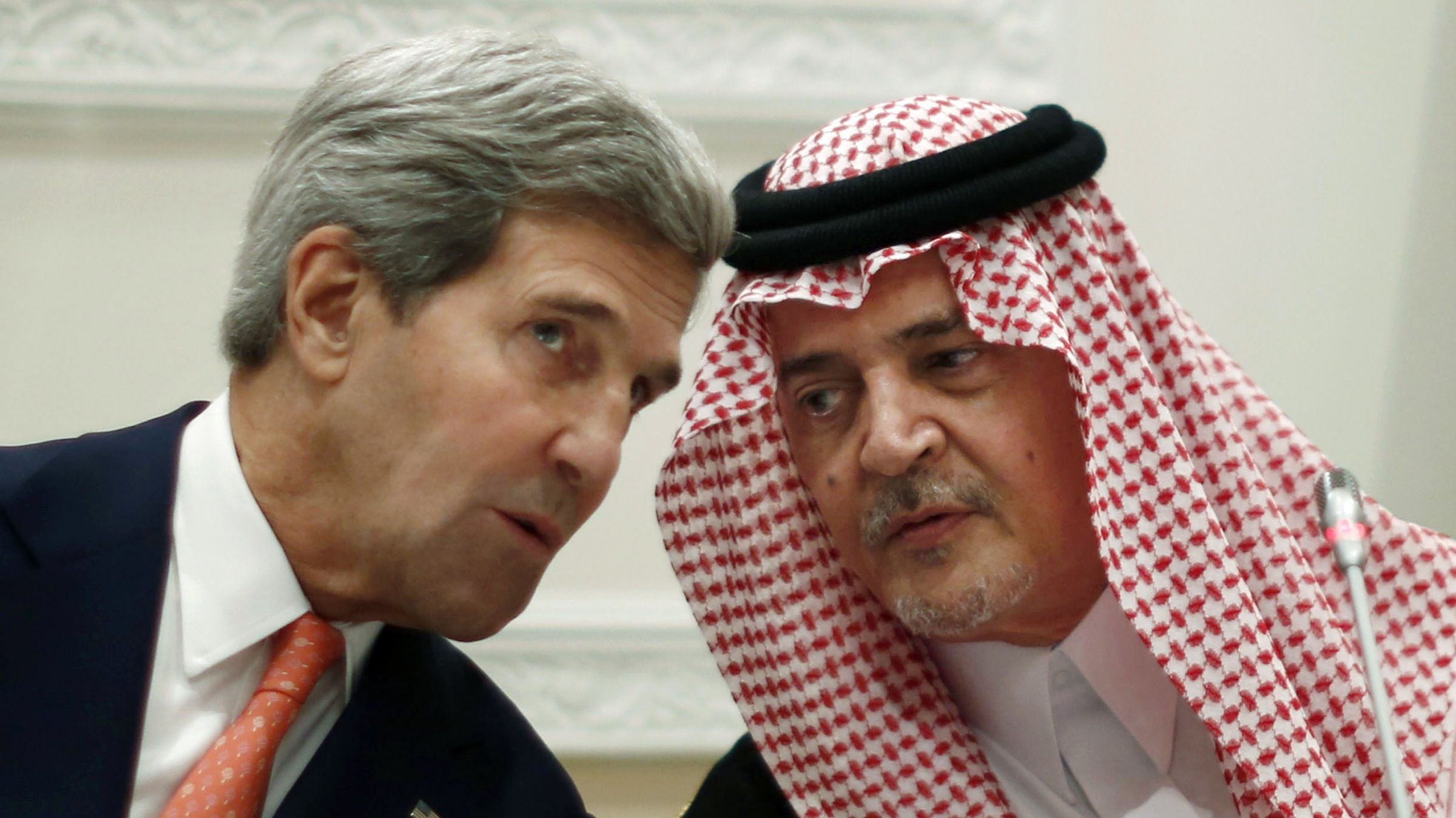 "U.S. Secretary of State John Kerry, left, speaks with Saudi Arabia's Foreign Minister Prince Saud al-Faisal, in Riyadh, Monday, Nov. 4, 2013. Al-Faisal assured Kerry Monday there is no problem with the United States, saying ""our two friendly countries"" are busy dealing with troublesome issues like Syria, Iran and the Mideast peace process. ""There is no room for emotion and anger here, but rather for policies of commonsense and level-headedness,"" Faisal said at a joint news conference with Kerry.  (AP Photo/Jason Reed, Pool)"